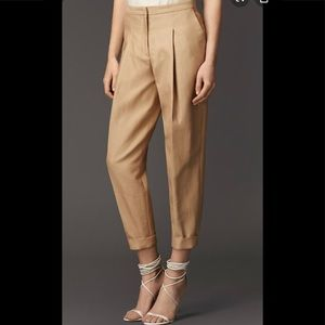 Burberry pants beige khaki belted ankle pants 2
